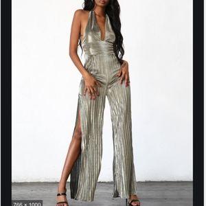 Tiger Mist Crystal Jumpsuit,Metallic Halter size L